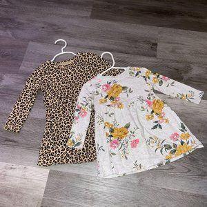 Toddler Girl Old Navy Long Sleeve Leopard & Floral Jersey Dress Bundle 2 T